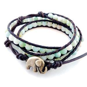 Boho Elephant Wrap Bracelet Artisan Pale Green